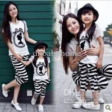family set clothes summer cotton sleeved t shirt striped