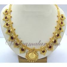 gold plated palakka mala traditional kerala necklace and earrings