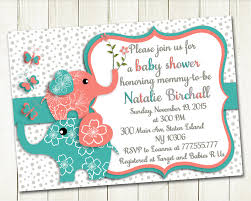 coral turquoise elephant baby shower printable invitation baby