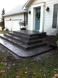 Concrete Step Resurfacing Products by Rough Cut Stone Stamped Concrete Steps In Delaware Ontario Step