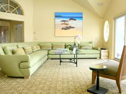 Coastal Living Room Design Ideas by The High Ceilings And Yellow Walls Of This Coastal Living Room