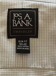 jos a bank shirts sizing data for 2017 detailed sizing information