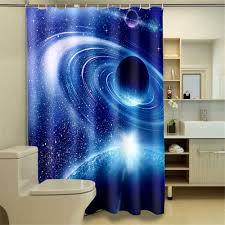 Boys Space Curtains 3d Oil Outer Space Kids Bathroom Shower Curtain Waterproof