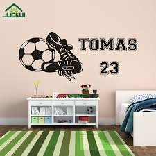 compare prices on sticker footballer online shopping buy low customer made boy wall stickers football soccer boots personalized name vinyl art decal mural decor kids rooms decoration j22