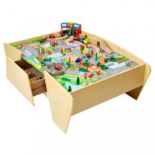 wooden activity table for train track wooden activity table plum play