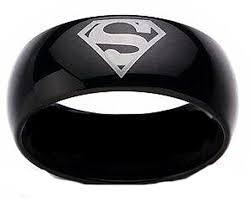 superman wedding band superman print black tungsten carbide dc width 8 mm