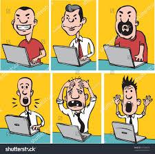 doodle edit vector illustration doodle dudes laptops stock vector