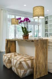 Console Table For Living Room Live Edge Console Table With Beige Poufs Transitional Living Room