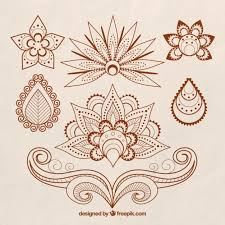 set of henna tattoos floral theme vector free download