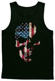 Funny American Flag Shirts Amazon Com Blittzen Mens Tank Top Skull With American Flag
