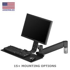 monitor and keyboard arm desk mount monitor arms with keyboard tray mount systems ergomart