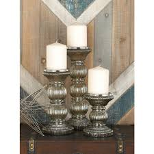 clear smoked glass candle holders set of 3 24648 the home depot