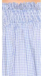 Blue Gingham Shower Curtain Caroline Constas Lou Off The Shoulder Blouse In Blue Lyst