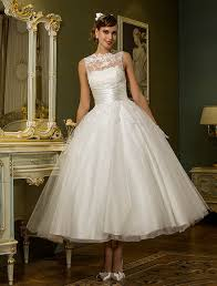 princess illusion neckline ankle length tulle wedding dress with