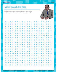 word search the king u2013 martin luther king worksheet for kids