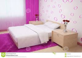 bedroom interior made in light colors with light wood furnishings