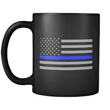 Blue And Black Flag Thin Blue Line American Flag Mug Black Flags Coffee And