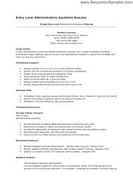 Sample Resume For Administrative Officer by Entry Level Resume Examples