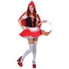 ladies red raunchy riding hood fancy dress