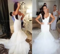 fishtail wedding dresses lace v neck wedding dresses with fishtail open back tulle