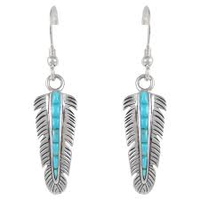 silver feather earrings turquoise earrings sterling silver jewelry feathers