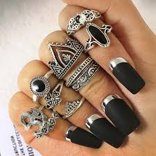 knuckle rings images Fashion flower stone midi ring sets crown star moon vintage jpg