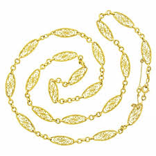 vintage gold chain necklace images Antique french 28 inch long filigree gold necklace at 1stdibs jpg