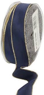 navy blue wired ribbon buy ampelco ribbon company gold wired 27 yard taffeta ribbon 1