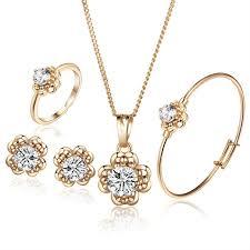 gold pendant chain bracelet images New arrival leaf zircon gold color girls baby jewelry set pendant jpg