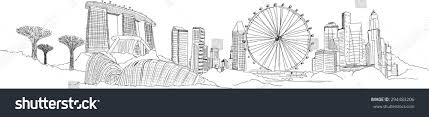 vector panoramic singapore city sketch stock vector 294483206