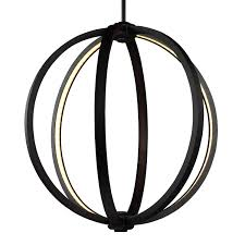khloe oil rubbed bronze three light 20 inch wide led pendant feiss