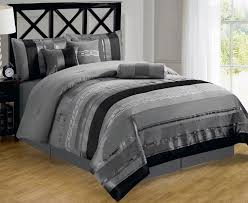 Black And Beige Comforter Sets Bedroom Black And Grey Comforter Sets On Black Wooden Bed With