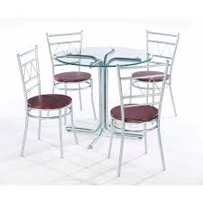 Dining Tables With 4 Chairs Wonderful Round Glass Dining Table With Four Chrome Metal Base Be