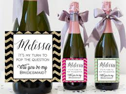 asking bridesmaid ideas custom bridesmaid chagne bottle label asking will you be my
