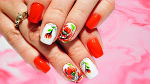 poppies with rhinestones flower top amazing spring nail design