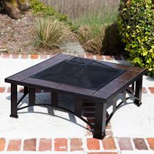 wood burning fire table fire sense square steel fire pit tuscan tile wood burning