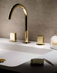 gold polished waterfall bathroom sink faucet widespread 3 holes