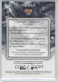 Barrett Barnes 2013 Bowman Inception Prospect Autographs Blue Pa Bba
