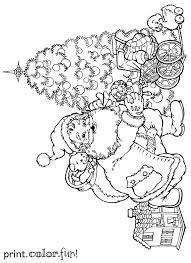 santa putting presents under the christmas tree coloring page