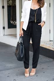 jumpsuit for how to wear a black jumpsuit to work with a white blazer and
