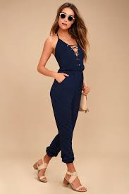 lace up jumpsuit chic navy blue jumpsuit lace up jumpsuit sleeveless jumpsuit