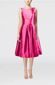 fuschia fuschia black dress simple sleeveless zipper taffeta tea length