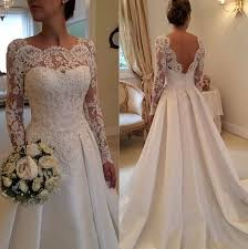 wedding dress lace back and sleeves lace sleeves wedding dresses beading satin open back