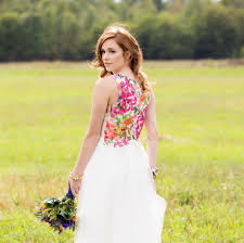 Alternative Wedding Dress Alternative Wedding Dress All White With Bright Floral Back