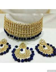 choker necklace blue images 5 layered artificial kundan choker necklace with chandbali jpg