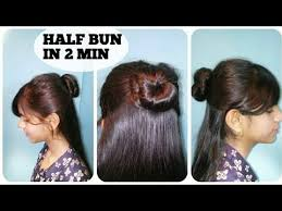 half bun hairstyle in 2 min for girls simple easy everyday