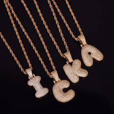 gold letters necklace images Wholesale iced aaa zircon hip hop pendant gold silver copper cz jpg