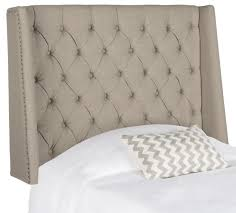 london taupe tufted linen headboard flat nail heads headboards