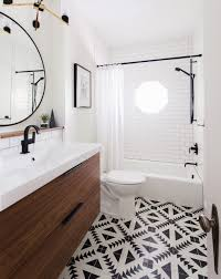Black White Bathroom Ideas Black White Bathroom Pattern Tile Walnut Vanity Erin Williamson
