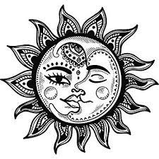 amazon com sun and moon celestial vinyl sticker car window bumper